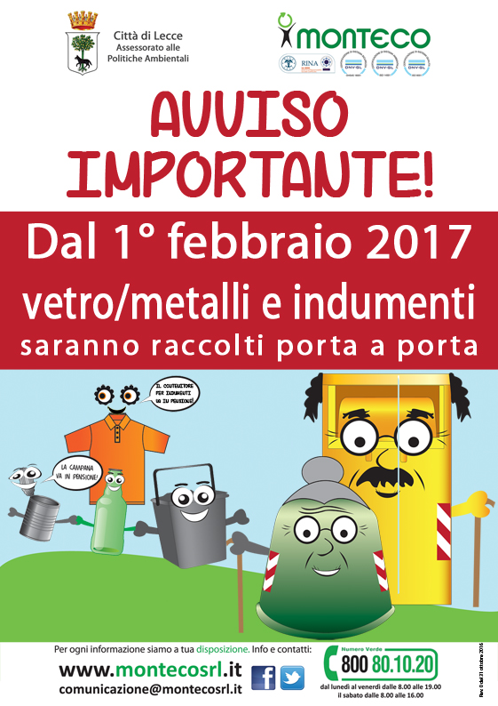 Brochure Raccolta Differenziata porta a porta vetro e metalli