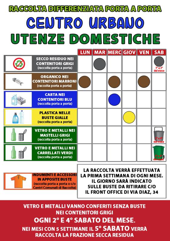 Nuovo Calendario di Raccolta per Utenze Domestiche - Centro Urbano