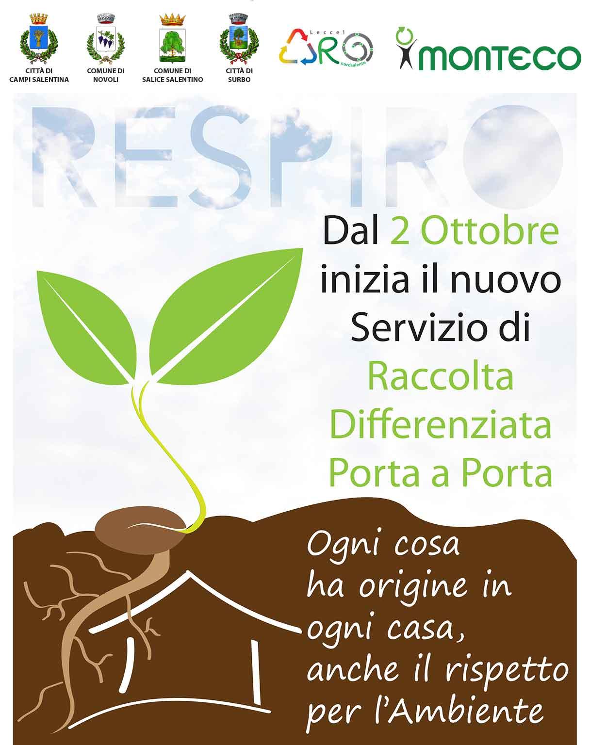 2 ottobre: al via con il Nuovo Servizio di Raccolta Differenziata Porta a Porta a Campi, Novoli, Salice e Surbo