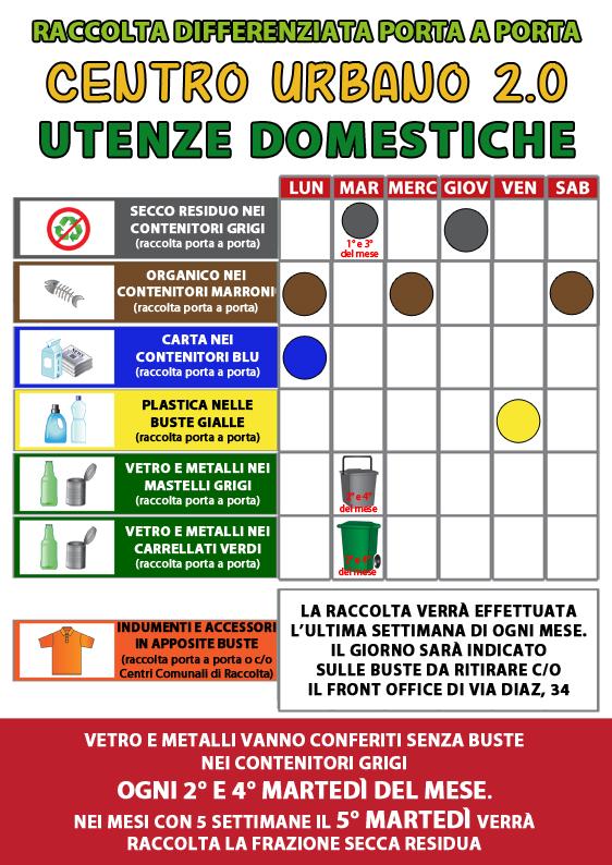 Nuovo Calendario di Raccolta per Utenze Domestiche - Centro Urbano 2.0