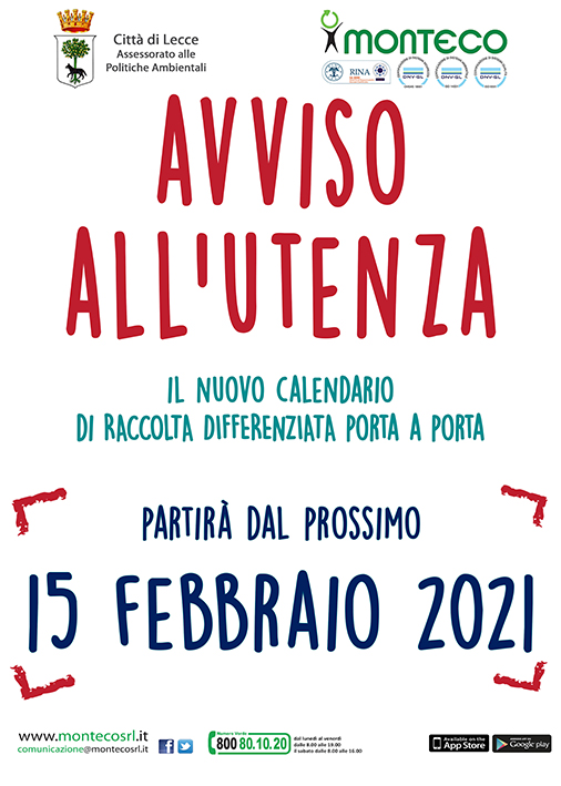 Lecce. Nuovi calendari di raccolta differenziata porta a porta: il 15 febbraio partirà il nuovo servizio nel Centro Urbano