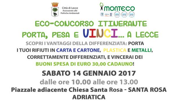 Porta Pesa e Vinci a Lecce: Sabato 14 gennaio 2017 dalle ore 10.00 alle ore 13.00 presso Piazzale adiacente la Chiesa Santa Rosa
