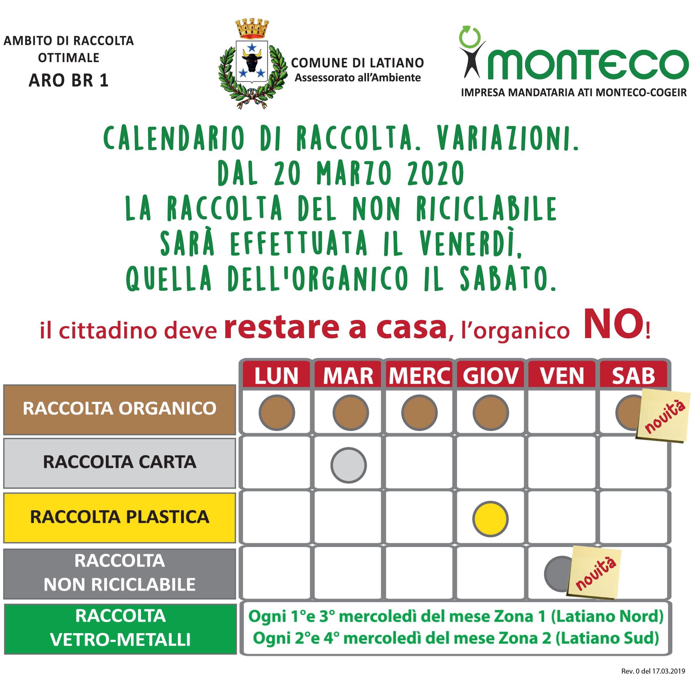 Monteco Calendario Galatina 2021 Latiano. Dal 20 marzo 2020 variazione al calendario di raccolta