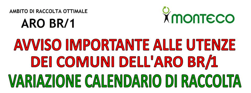 ARO BR1: variazione del calendario di raccolta in occasione delle festività natalizie