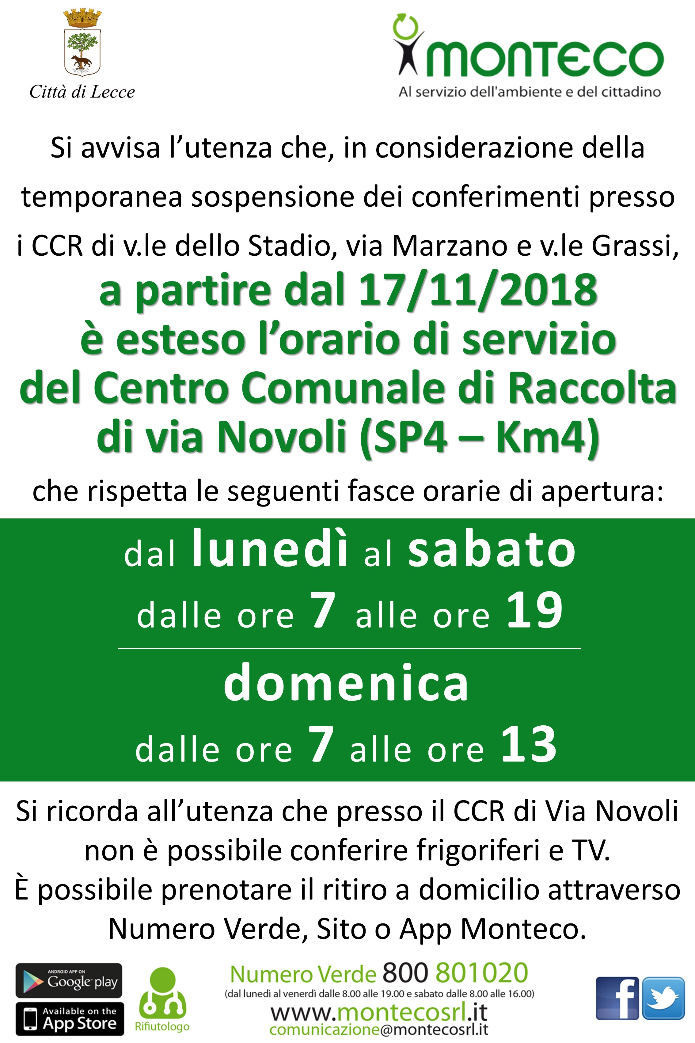 Lecce - Estensione orario apertura CCR via Novoli