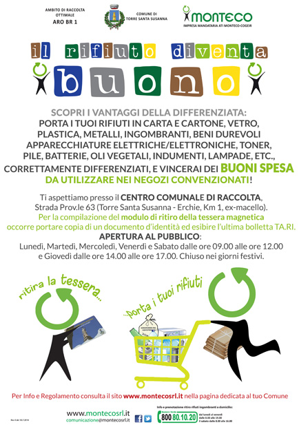 """Torre Santa Susanna. Al via l'eco-concorso """"Il Rifiuto diventa BUONO"""""""