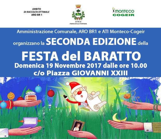 FRANCAVILLA FONTANA: Seconda edizione della Festa del Baratto in Piazza Giovanni XXIII