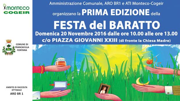 FRANCAVILLA FONTANA: PRIMA EDIZIONE DELLA FESTA DEL BARATTO IN PIAZZA GIOVANNI XXIII