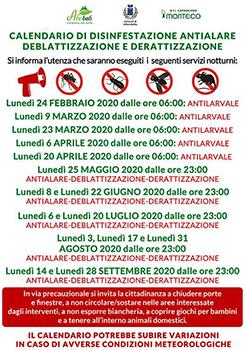 calendario di disinfestazione antialare, deblattizzazione e derattizzazione