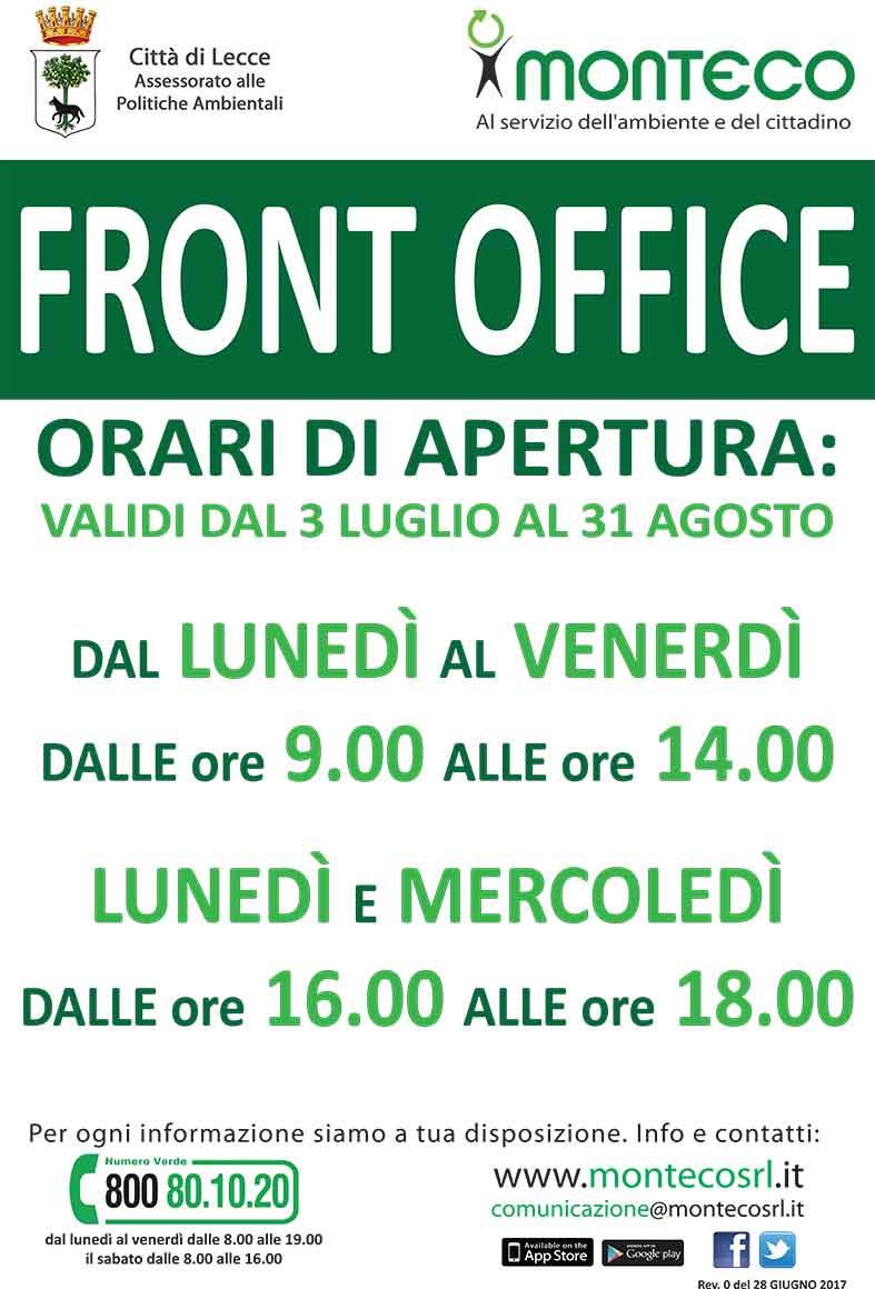 LECCE: NUOVI ORARI DI APERTURA DEL FRONT OFFICE