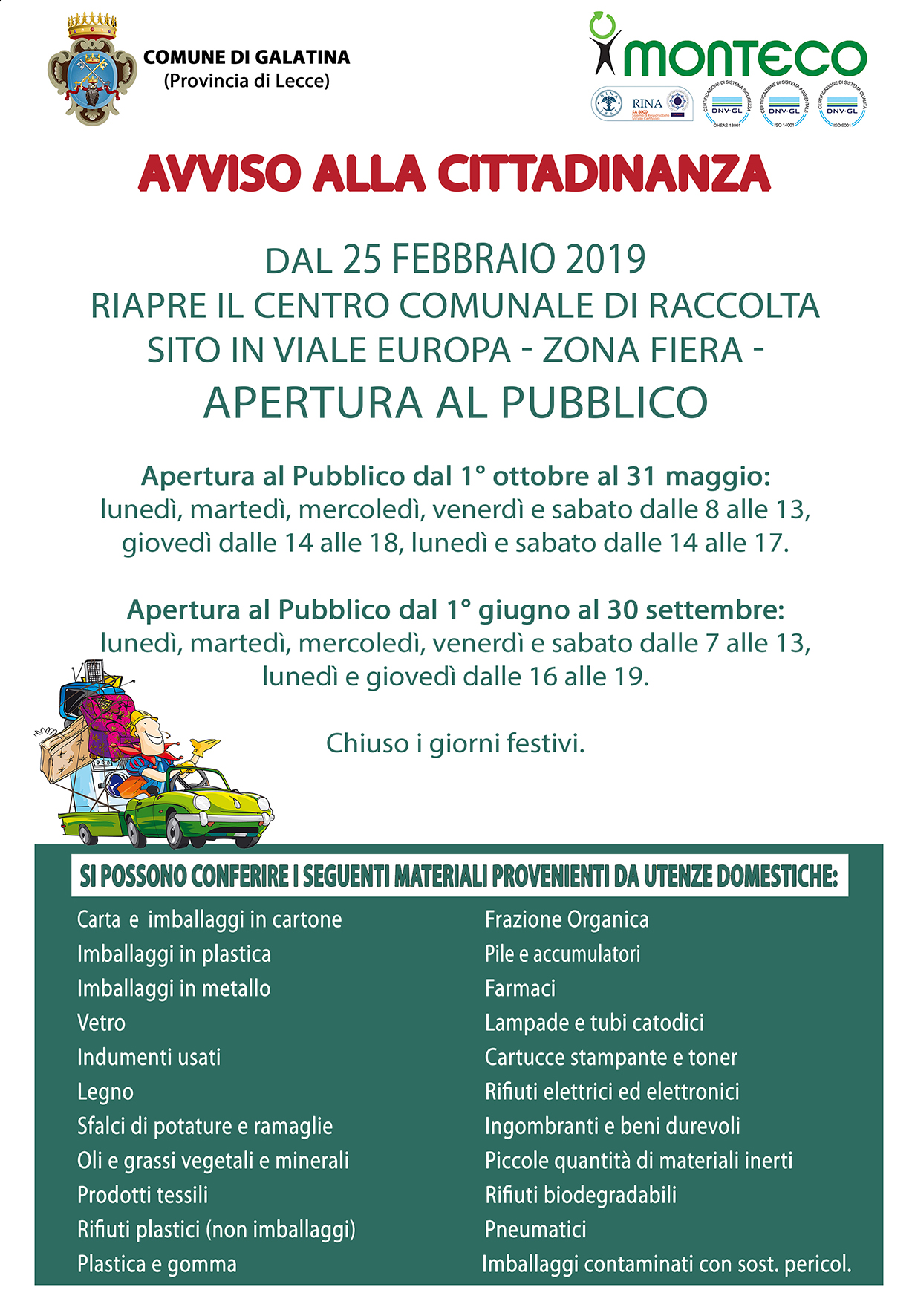 Monteco Calendario Galatina 2021 Galatina. Riapre il Centro Comunale di Raccolta | Monteco Srl .it