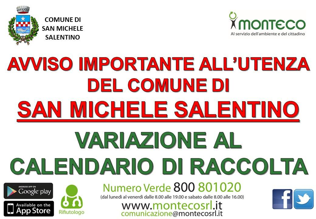 San Michele Salentino variazione calendario di raccolta