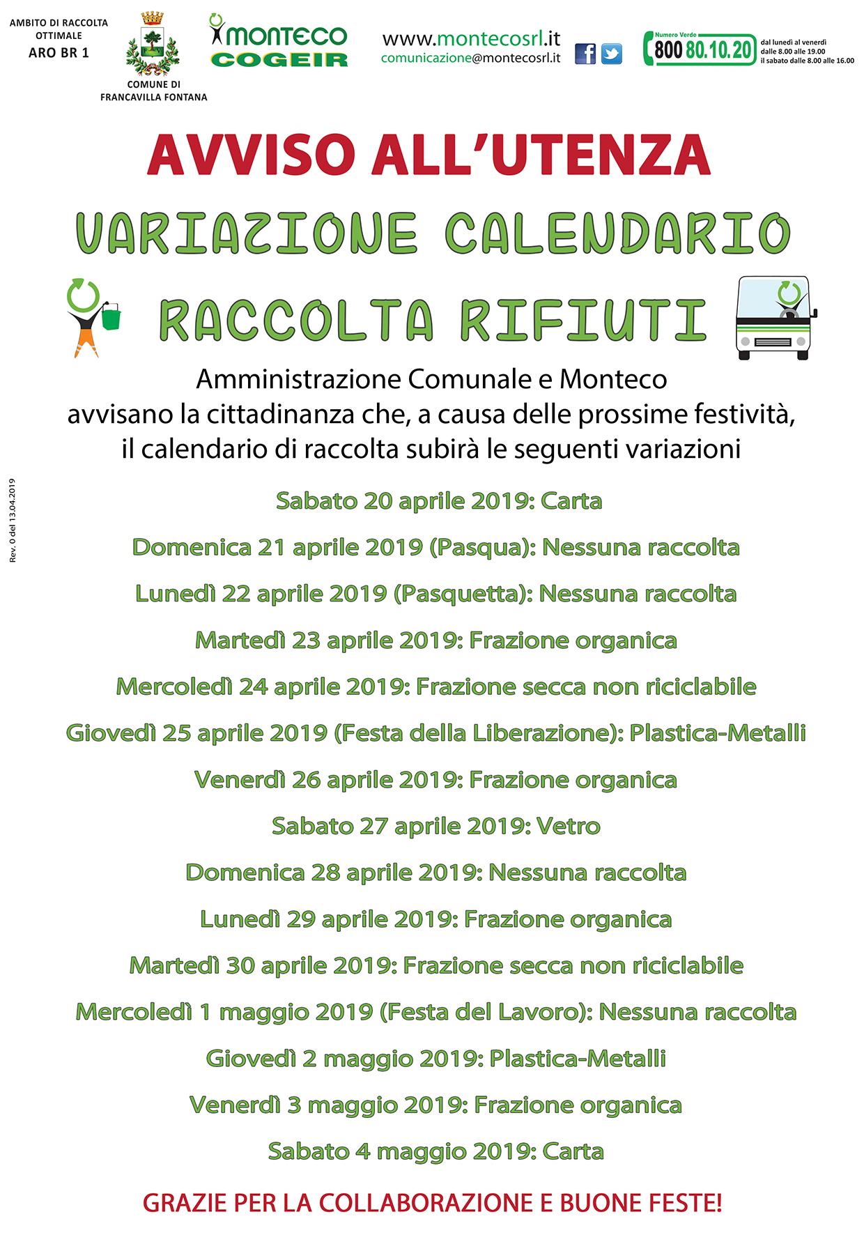 Calendario Feste.Francavilla Fontana Variazione Al Calendario Di Raccolta