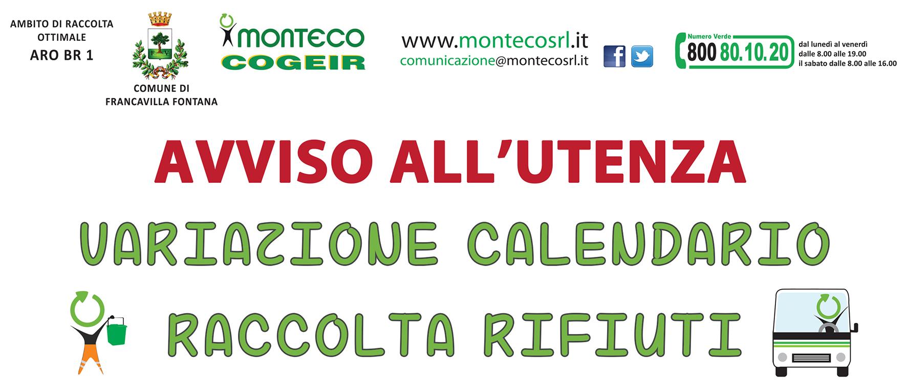Francavilla Fontana. Variazione al calendario di raccolta per le festività pasquali
